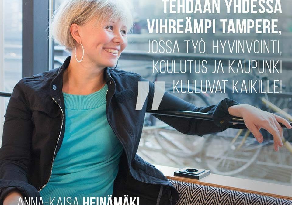 Anna-Kaisa Heinämäki Tampereen Vihreiden pormestariehdokkaaksi